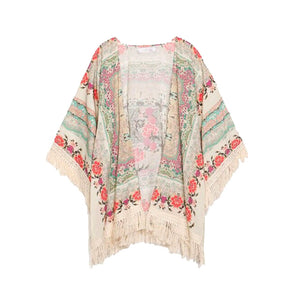 Spring Women's Floral Print Long Loose Knitted Cardigan Shawl
