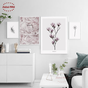 Feather & Flower Canvas Art Print Poster