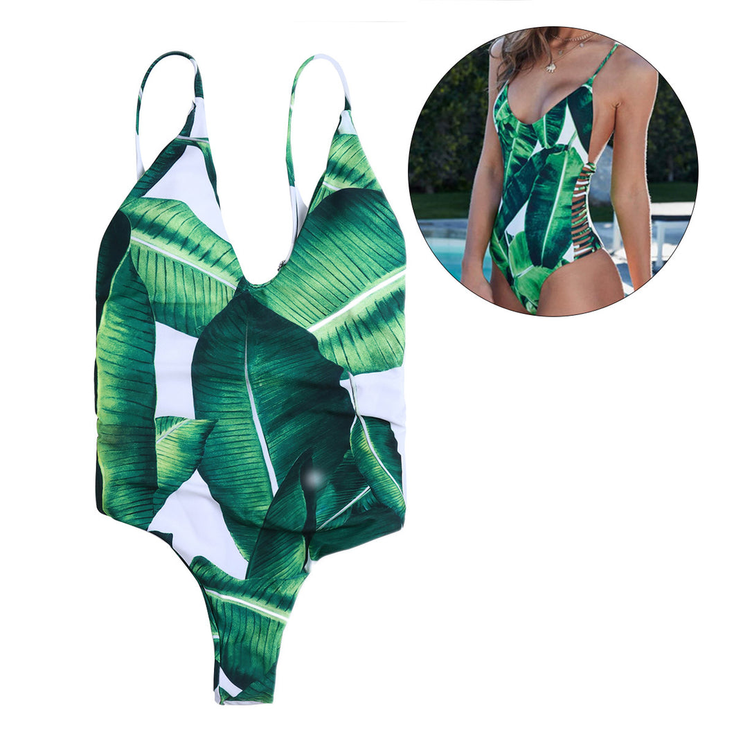 Banana Leaves Print One Piece Women Swimsuit