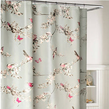 Flowers & Birds Pattern Waterproof Shower Curtain