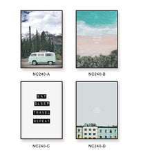 Green Bus Travel  Landscape Canvas Painting Wall Posters