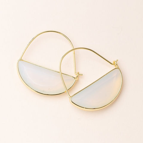 STONE PRISM HOOP EARRINGS OPALITE/GOLD - Three Labs Salvage