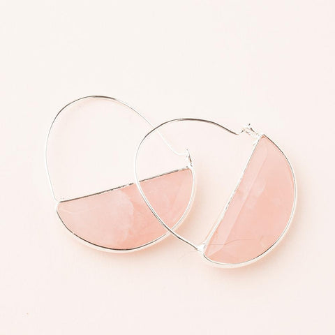 ROSE QUARTZ/SILVER STONE PRISM HOOP EARRINGS - Three Labs Salvage