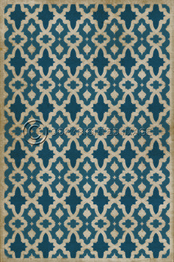 The Blue Moss Vintage Vinyl Floorcloth - Three Labs Salvage