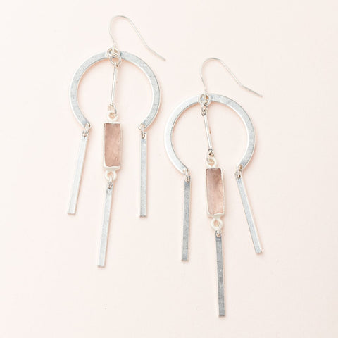 Dream Catcher Stone Earring - Rose Quartz/Silver