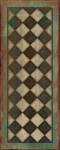 "Checkmate Vintage Vinyl Floorcloth 36"" by 90"""