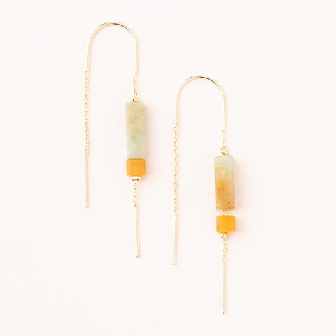 RECTANGULAR STONE EARRINGS AMAZONITE/AMBER/GOLD - Three Labs Salvage