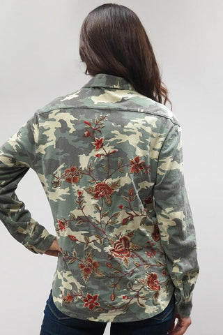 SASHA SHIRT IN CAMO WITH EMBROIDERY