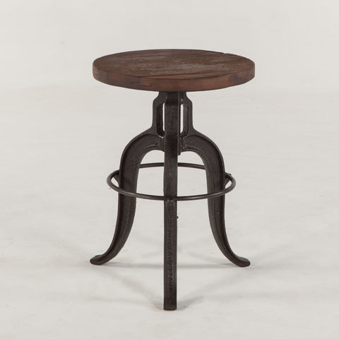 INDUSTRIAL TEAK, STOOL WITH IRON LEGS - Three Labs Salvage