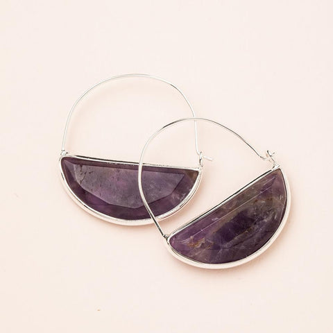 STONE PRISM HOOP EARRINGS AMETHYST/SILER - Three Labs Salvage