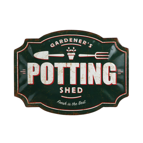"Embossed Tin Wall Decor ""Potting Shed"""