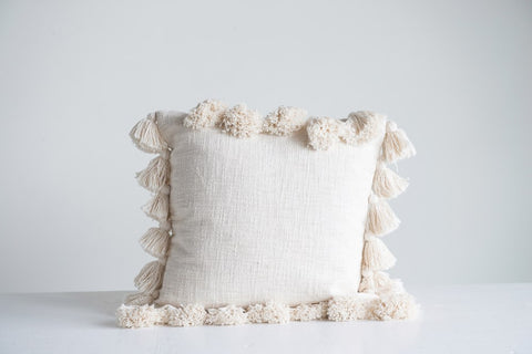 "Cream 18"" Square Cotton Pillow w/ Tassels"