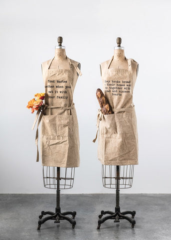 COTTON CANVAS APRON WITH SAYING - Three Labs Salvage
