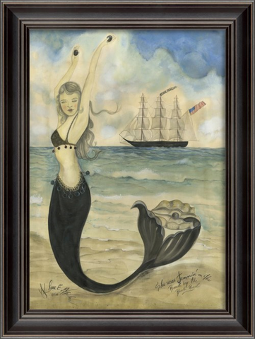 BLACK PEARL OYSTER Mermaid Framed Print - Three Labs Salvage