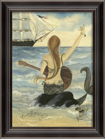 LET'S ROCK  Mermaid Framed Print - Three Labs Salvage