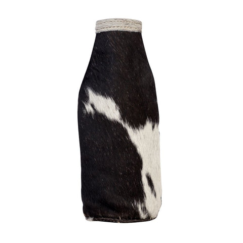 BLACK & WHITE HAIR ON BEER BOTTLE KOOZIE