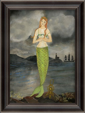 PROVIDING SAFE HARBOR Mermaid Framed Print - Three Labs Salvage