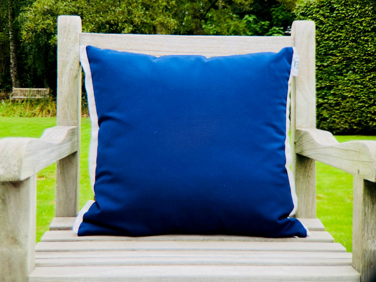 "ISA - Two Handmade Outdoor Cushions - ""Pieces"" Blue/Green & Brown"