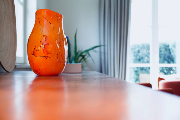 Raimonds Cirulis - Unique Handmade Glass Vase, Orange & Basalt.