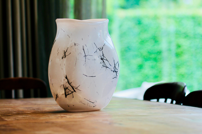 Raimonds Cirulis - Exclusive White Glass & Basalt Vase