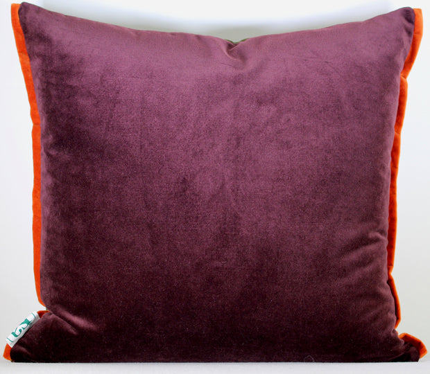 "ISA - Three Handmade Velvet Cushions - ""Pieces"" Aubergine"