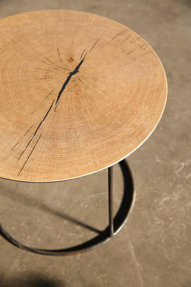 "Heerenhuis - Beautiful Handmade Side Table ""Nimbus"" Oak & Metal."