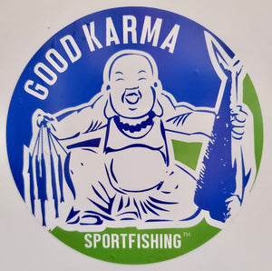 Good Karma Sportfishing 6 inch Sticker.