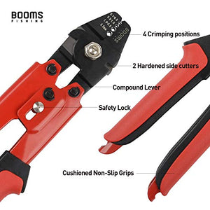 Booms Fishing Heavy-Duty Hand Crimper has Hardened Steel Jaws with 4 Crimping Positions and 2 Hardended Steel Side Cutter