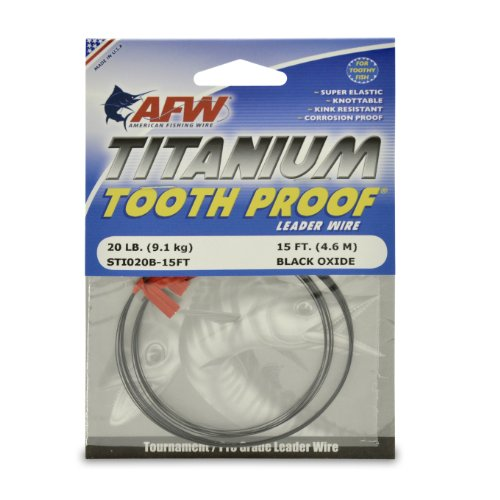 American Fishing Wire Titanium Tooth Proof Single Strand Leader Wire, Black Color, 75 Pound Test, 15-Feet