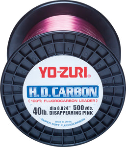 Yo-Zuri H.D.Carbon Fluorocarbon 100% Leader 500Yds 30Lbs 458M (0.488mm) Disappearing Pink