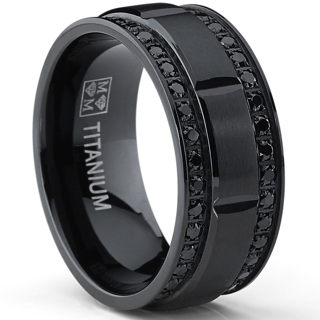 Men's Titanium Comfort Fit Wedding Band Ring with Double Row Cubic Zirconia