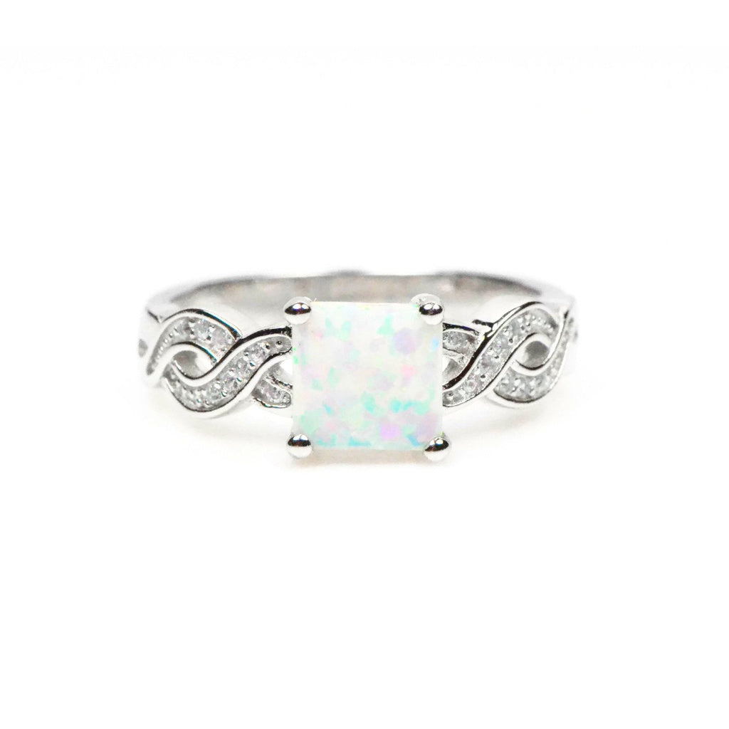 Well-known Sterling Silver Princess White Opal Twist Ring - Special Wedding Rings CV25