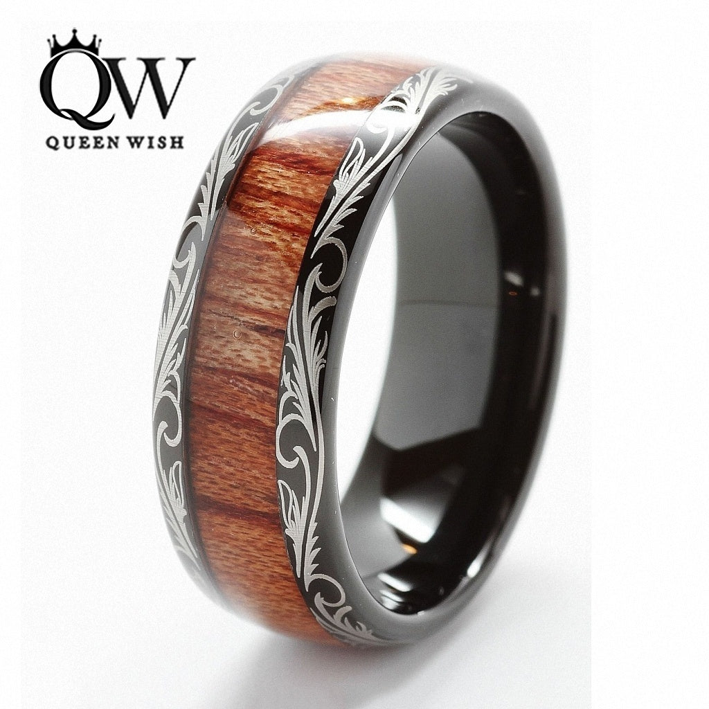 Black Tungsten Carbide Comfort Fit Wedding Ring with Real Koa Wood Inlay Dome