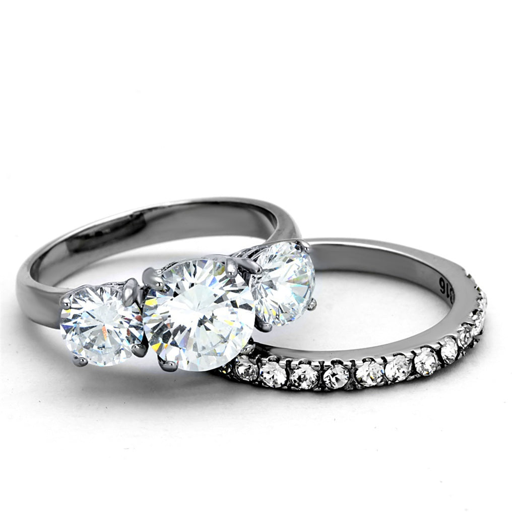 Stainless Steel Round Cut 3 Stone Engagement & Wedding Ring Set