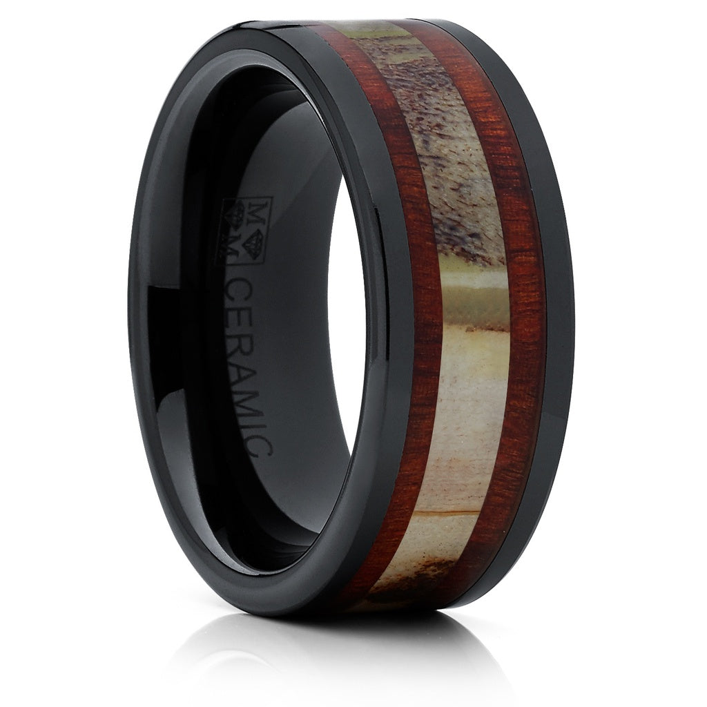rings products mens band fiber inlay wedding blue ring woven bands ceramic black carbon with