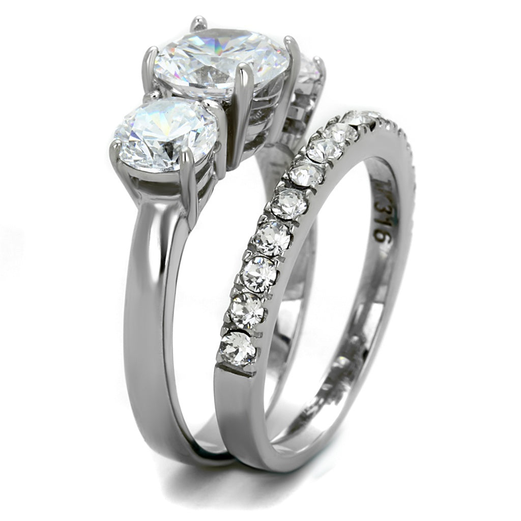 Stainless Steel Round Cut 3 Stone Engagement U0026 Wedding Ring Set