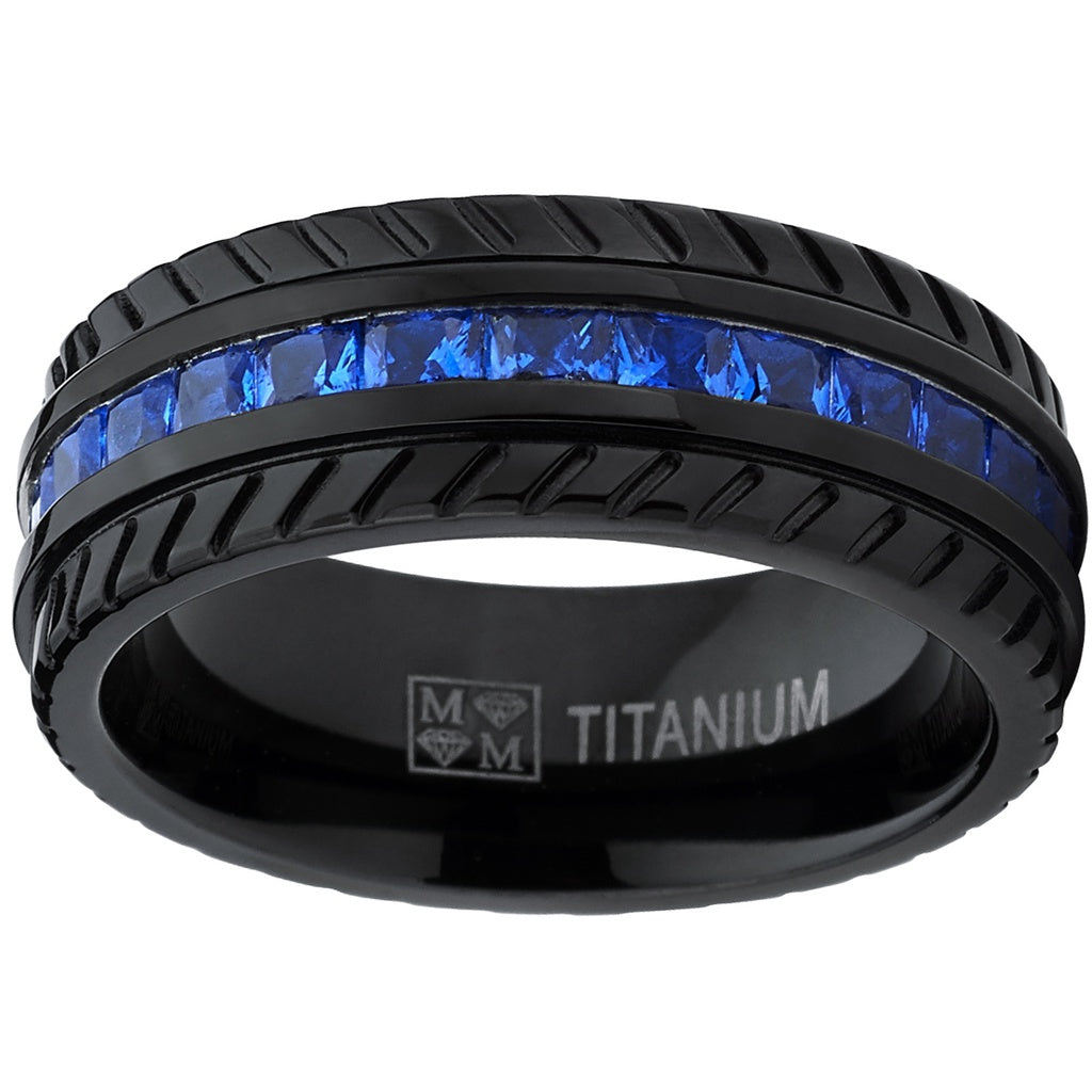 Men's Black Titanium Wedding Band, Engagement Eternity ring  W/ Princess Cut Deep Blue Cubic Zirconia CZ