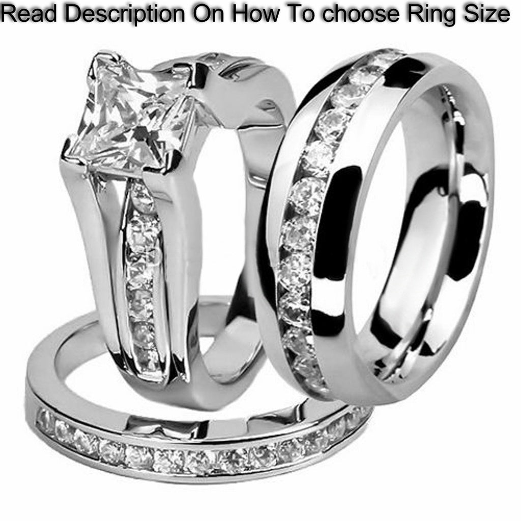 Stainless Steel Princess Wedding Ring Set and Eternity Wedding Band