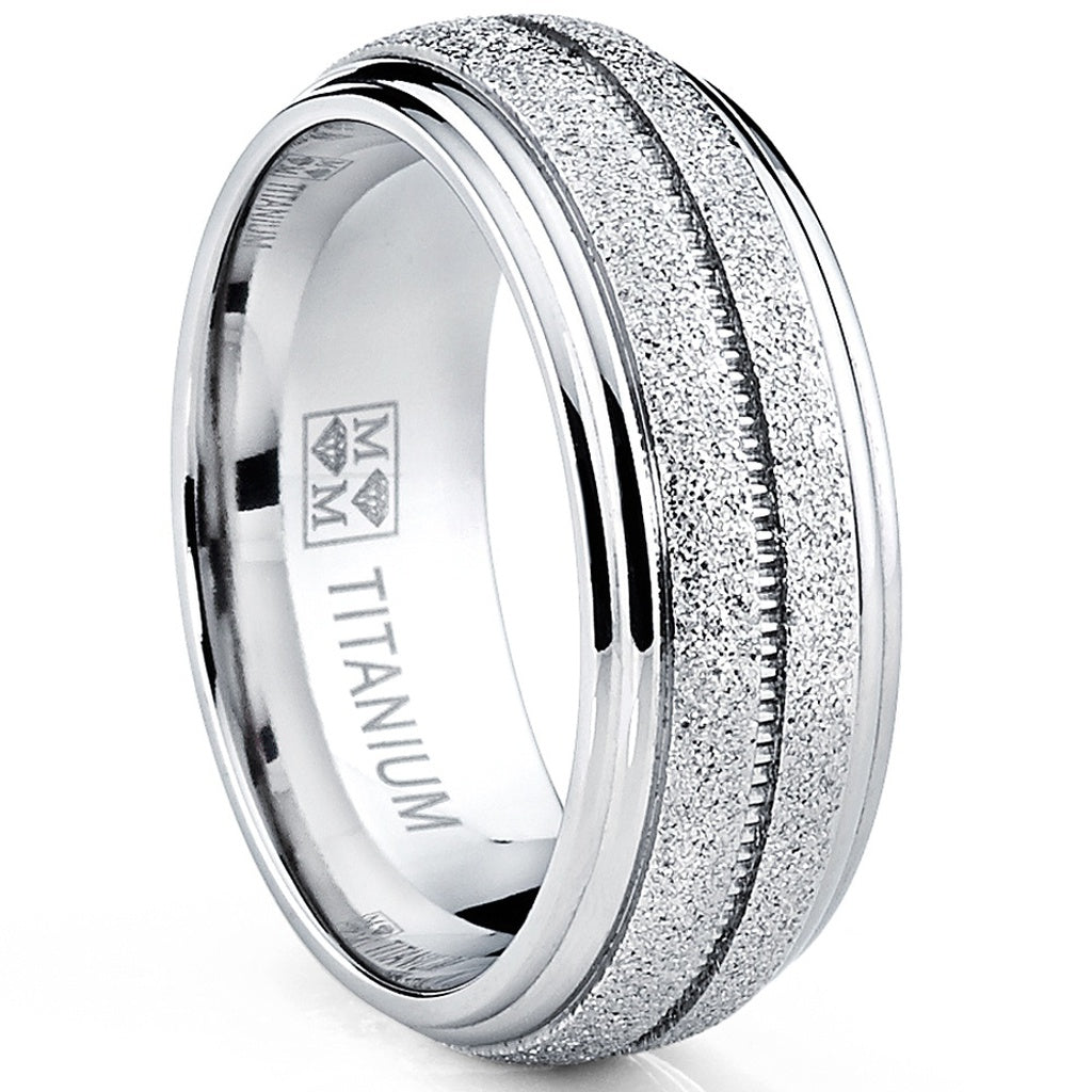 Men's Titanium Engagment Ring, Dome Glittered Satin Wedding Band, Comfort Fit 8mm