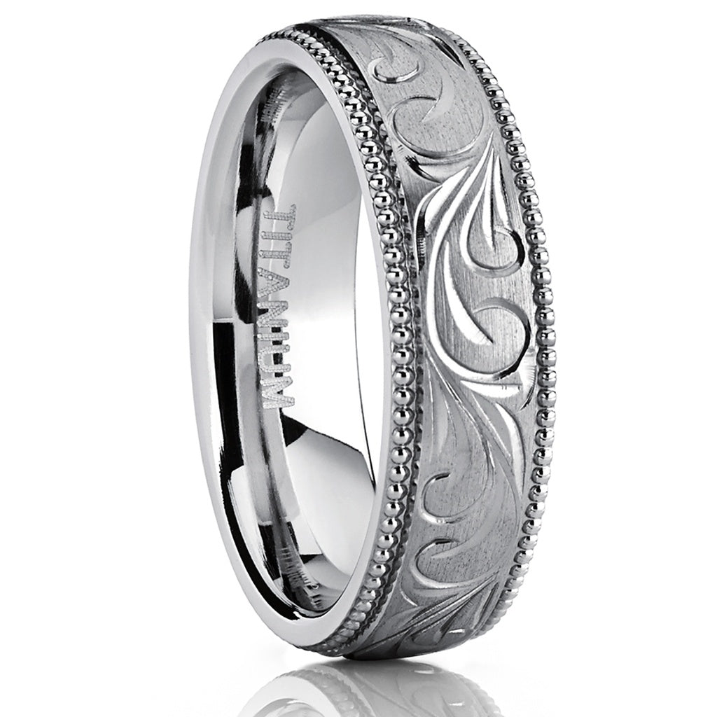 Women's Hand Engraved Vintage Comfort Fit Titanium Wedding Band