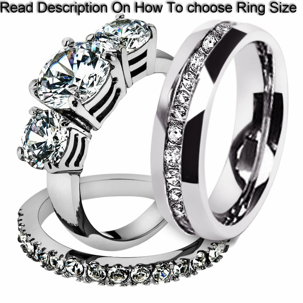 Stainless Steel CZ Bridal Set & Men's Eternity Wedding Band