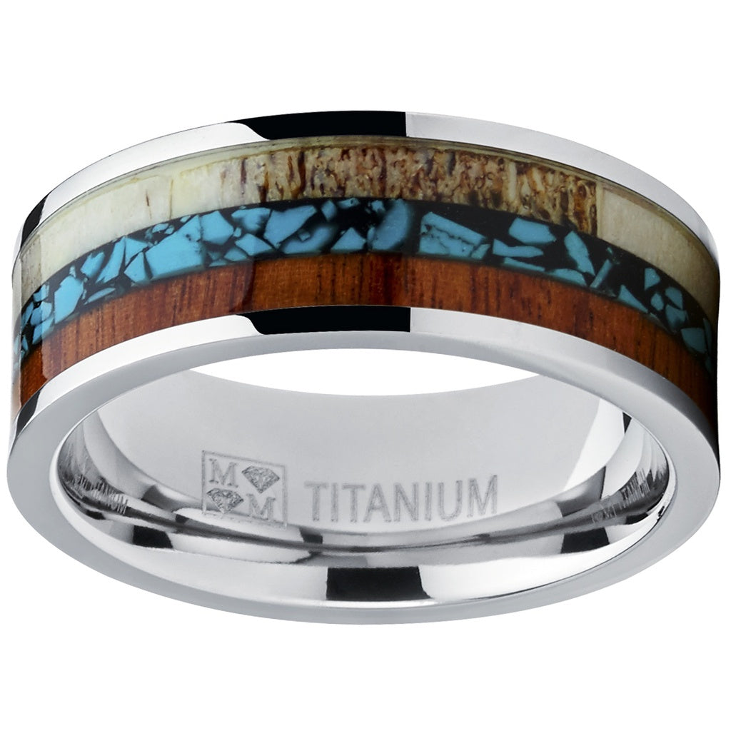 Men's Titanium Wedding Band Ring with Real Deer Antler, Koa Wood, and Turquoise Inlay