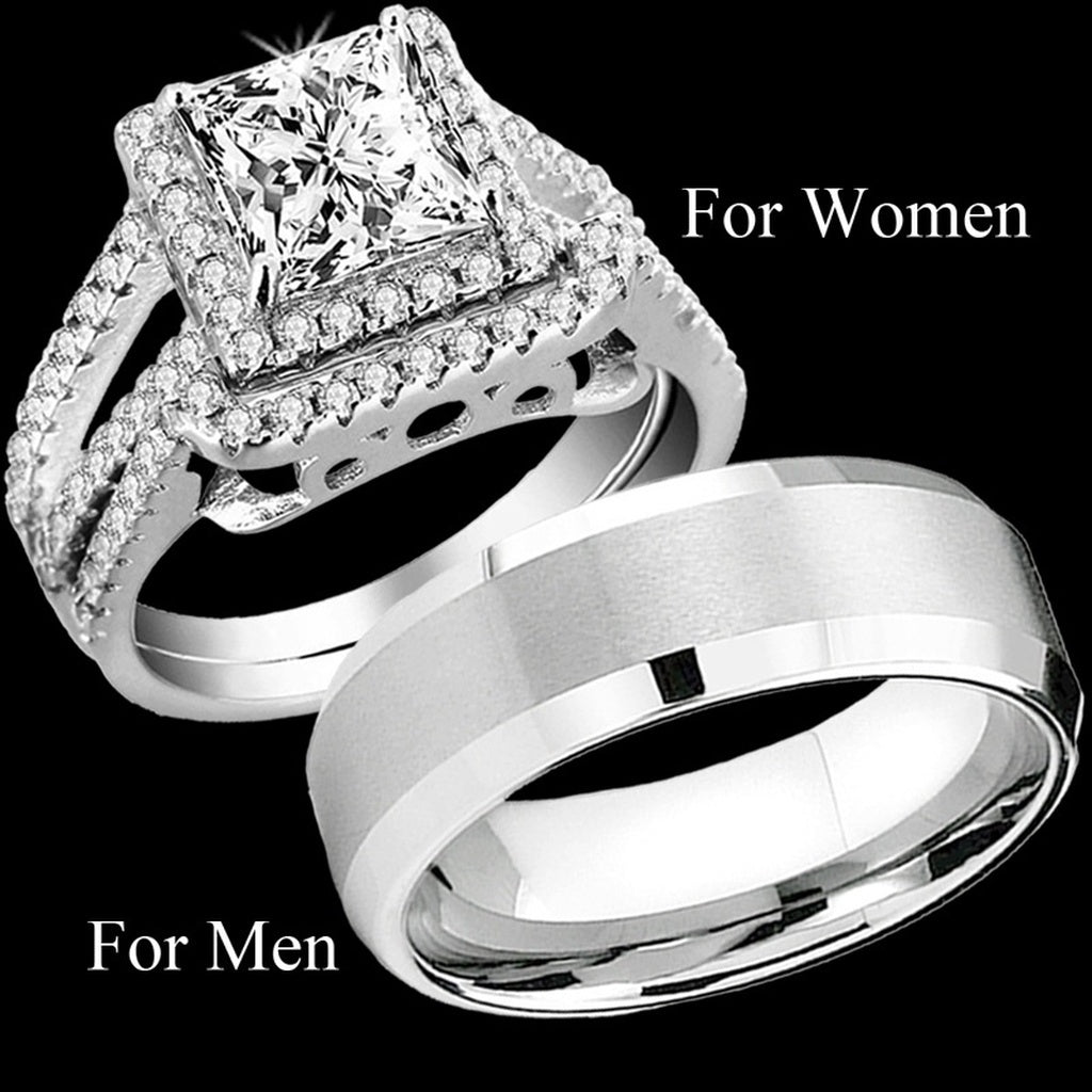 jewelry diamonds diamond real engagement silver threeman square synthetic men luxury mens male white sterling wedding pumnkvy ring stylish rings generous promise
