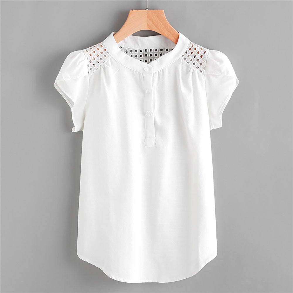 ec992ceaf53 Women Blouses Solid O-Neck Hollow Out Short Butterfly Sleeve Casual Tops Blouse  Blusas Mujer