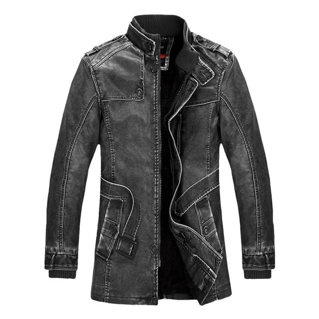511903cae Mountainskin Winter Men's PU Jacket Motorcycle Coats Thick Fleece Warm  Outerwear Slim Fit Male Leather Coat Brand Clothing SA557