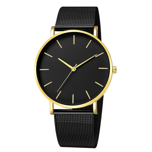 Men's Watches Quartz Watches Fashion Casual Mens Luxury Brand Date Gold Dial Stainless Steel Analog Quartz Army Military Sports Wrist Watch Male Clock Hours
