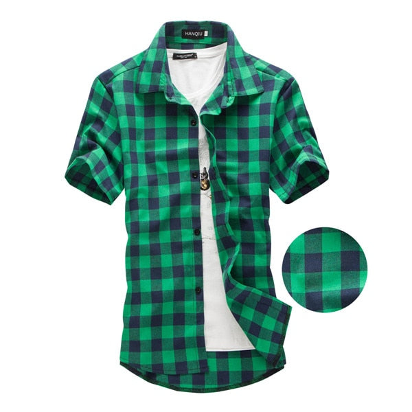 Short Sleeve Men Shirt Casual Red Black Plaid Shirt,White,M,China