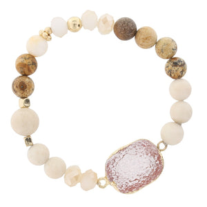 Natural Jasper Beaded Stretch Bracelet with Pink Druzy