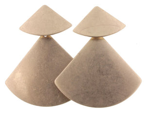Gold 2 Layer Triangle Stud Dangle Earrings