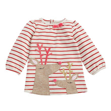 Girls Striped Reindeer Dress